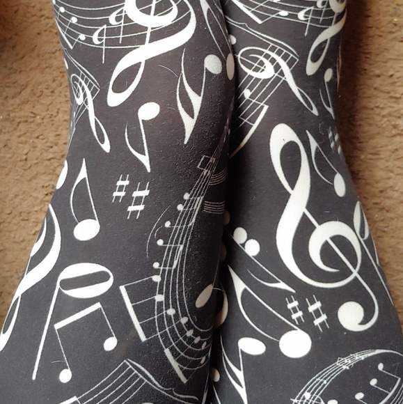 eec7d48cae legging depot Pants | Plus Black White Music Note Leggings | Poshmark